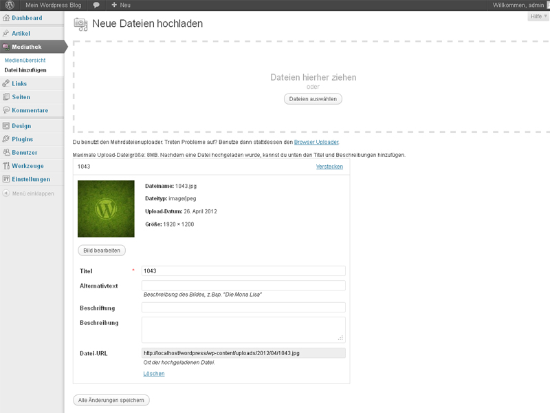 Wordpress Mediathek Bilder Screenhost